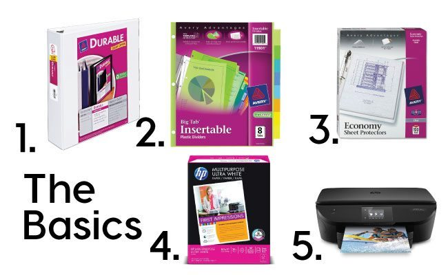 Basic Supplies for All Inclusive Binder