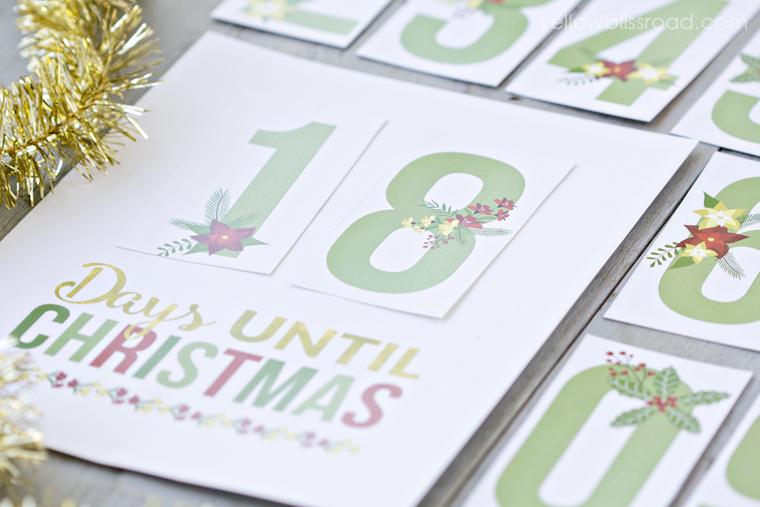 Printable Christmas Countdown - cute way to countdown the holidays. via thirtyhandmadedays.com