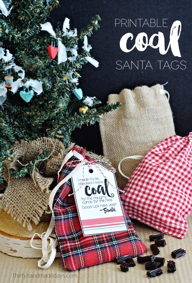 Printable Coal Santa Tags from thirtyhandmadedays.com