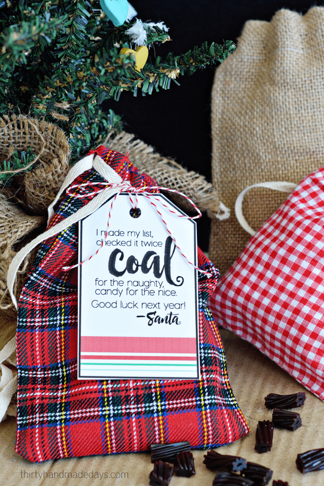 Printable Coal Santa Tags from Thirty Handmade Days