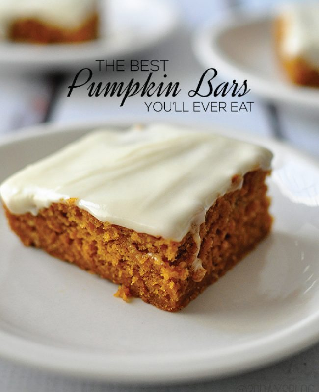 the Best Pumpkin Bars you'll ever eat