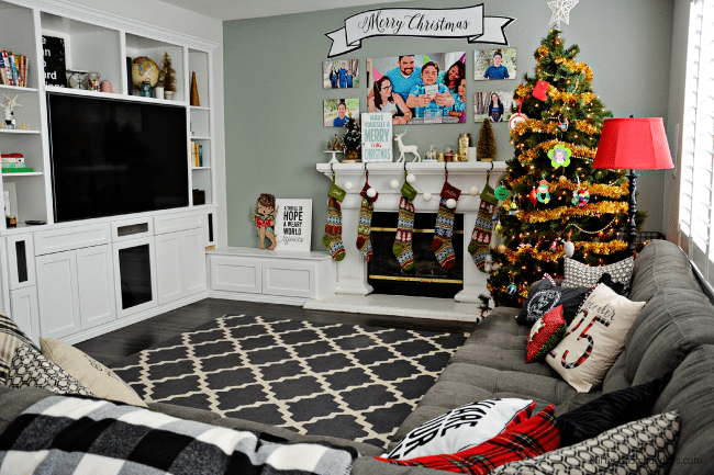 Our family room for Christmas Thirty Handmade Days