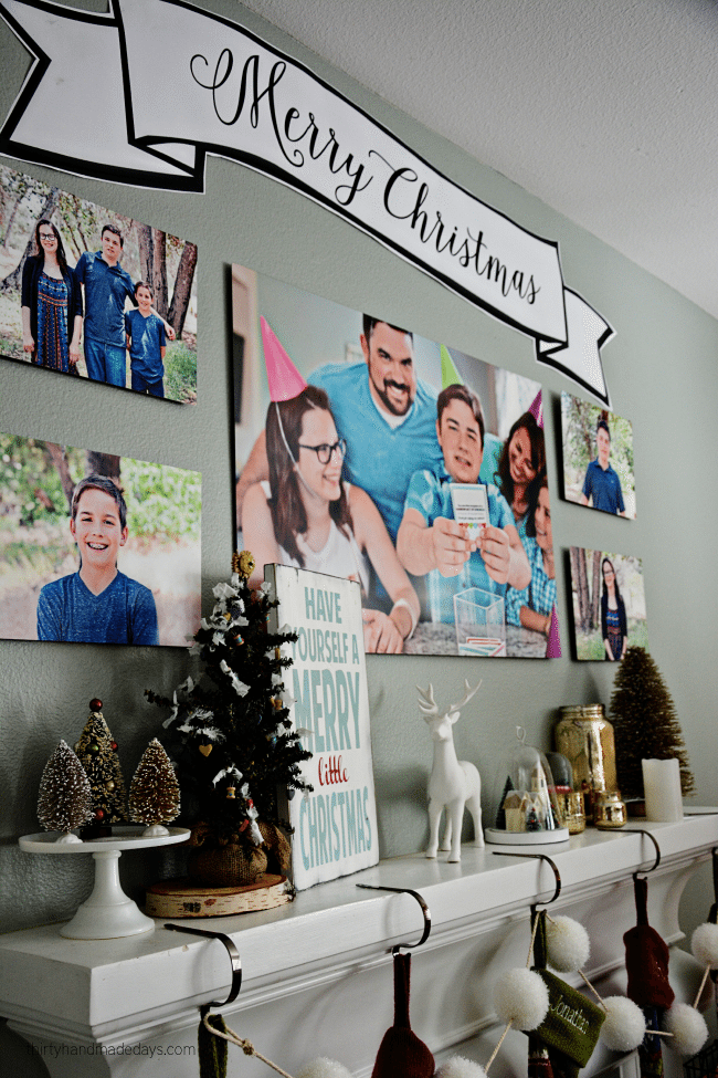 Our photo wall for Christmas from Shutterfly www.thirtyhandmadedays.com
