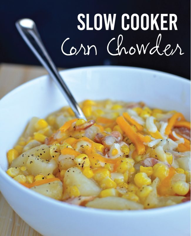 Slow Cooker Corn Chowder from www.thirtyhandmadedays.com