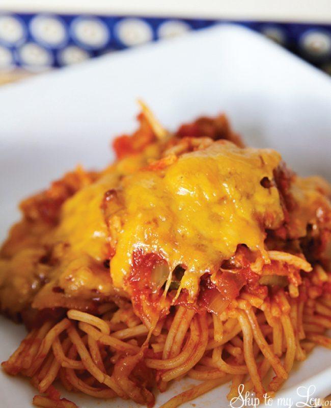 Spaghetti Casserole from www.skiptomylou.org