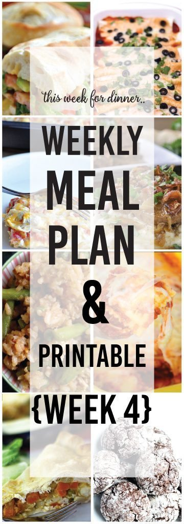 Weekly Meal Plan, Week 4 with printable shopping list included