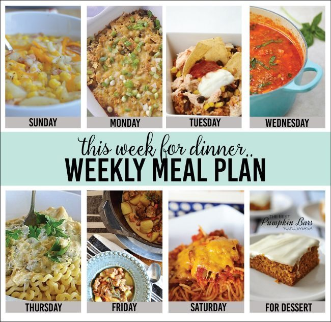 Weekly Meal Plan | Tired of the same old dinner recipes? Tired of always wondering what's for dinner? We have got you covered with this weekly menu plan. Free printable.