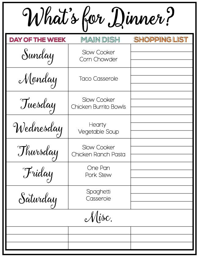 Printable Weekly Meal Plan from theidearoom.net | Tired of the same old dinner recipes? Tired of always wondering what's for dinner? We have got you covered with this weekly menu plan. Free printable.