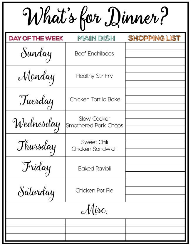Printable Weekly Meal Plan, Week 4