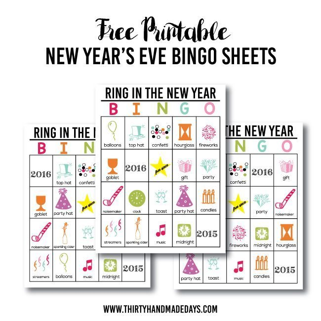 free printable new years eve bingo sheets from wwwthirtyhandmadedayscom