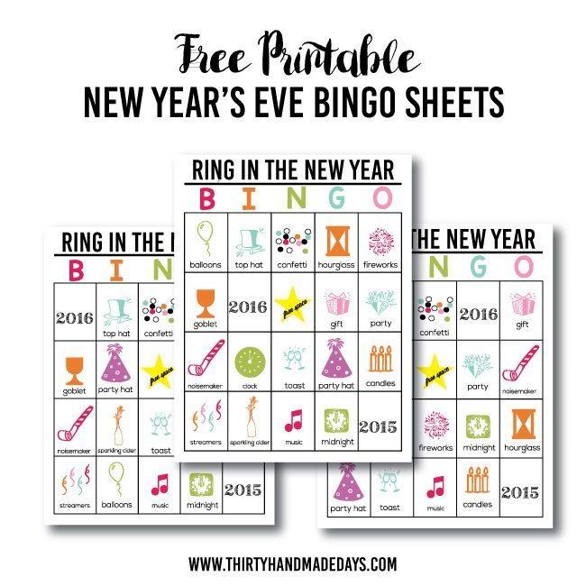 Free Printable New Year's Eve BINGO Sheets from www.thirtyhandmadedays.com