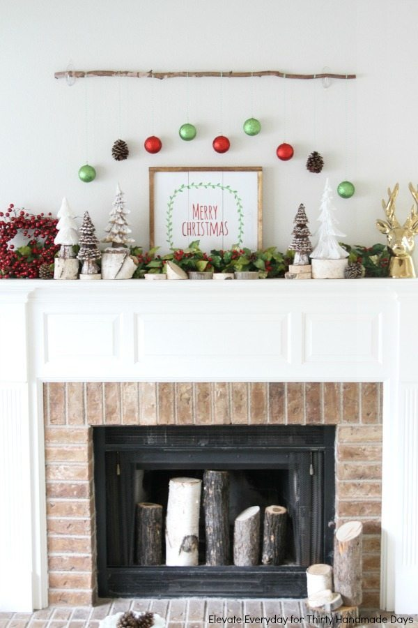 Bright Christmas mantle