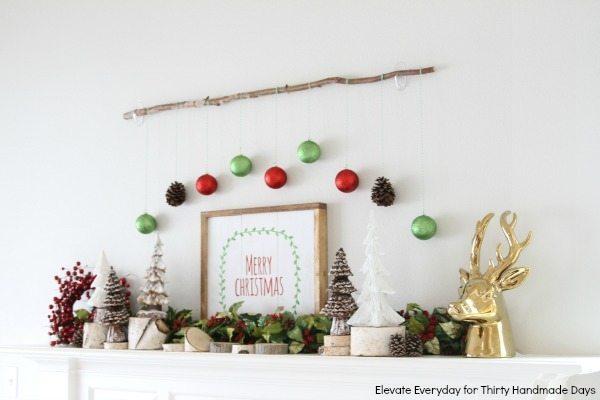 Rustic Christmas mantle