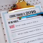2016 Printable New Year's Resolutions/Goals