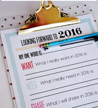 2016 Printable New Year's Resolutions and Goals www.thirtyhandmadedays.com