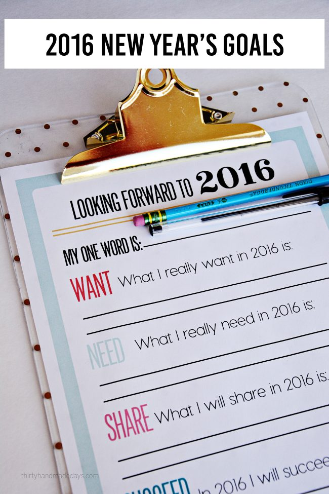 2016 Printable New Year's Resolutions and Goals www.thirtyhandmadedays.com
