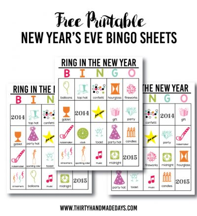 Free Printable New Year's Eve BINGO Sheets from www.thirtyhandmadedays.com