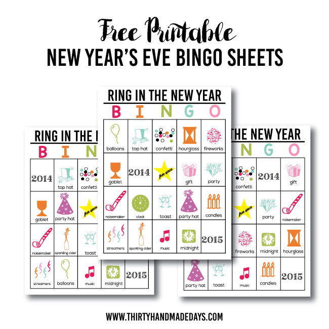 Updated Printable New Year's Eve BINGO - Thirty Handmade Days