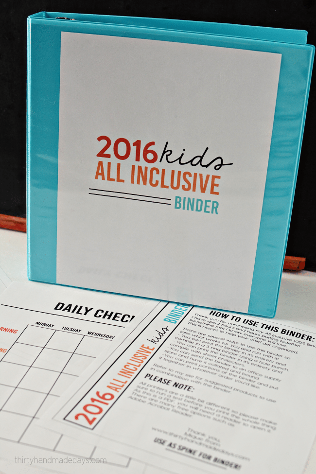 2016 All Inclusive Kids Binder- perfect for getting kids organized, responsible and independent from www.thirtyhandmadedays.com