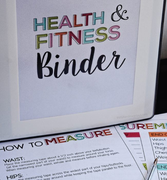 Printable Health and Fitness Binder from www.thirtyhandmadedays.com