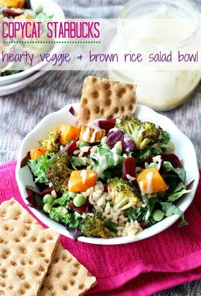 copycat Starbucks hearty veggie & brown rice bowl from Kim's Cravings / round up on ThirtyHandmadeDays.com