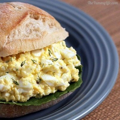 Healthy Egg Salad Sandwich from The Yummy Life / round up on ThirtyHandmadeDays.com