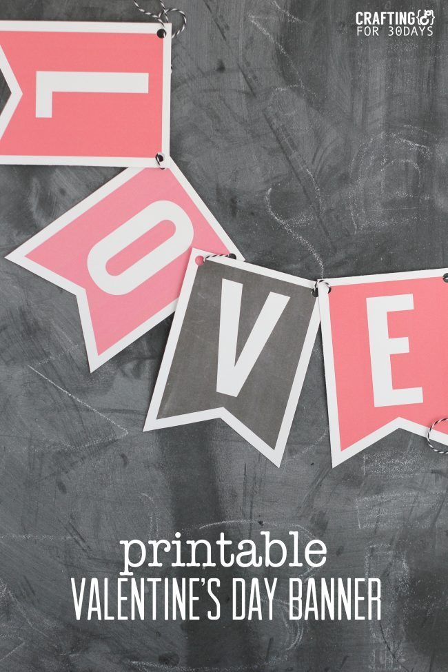 image about Valentine Banner Printable titled Printable Valentines Working day Banner - 30 Homemade Times