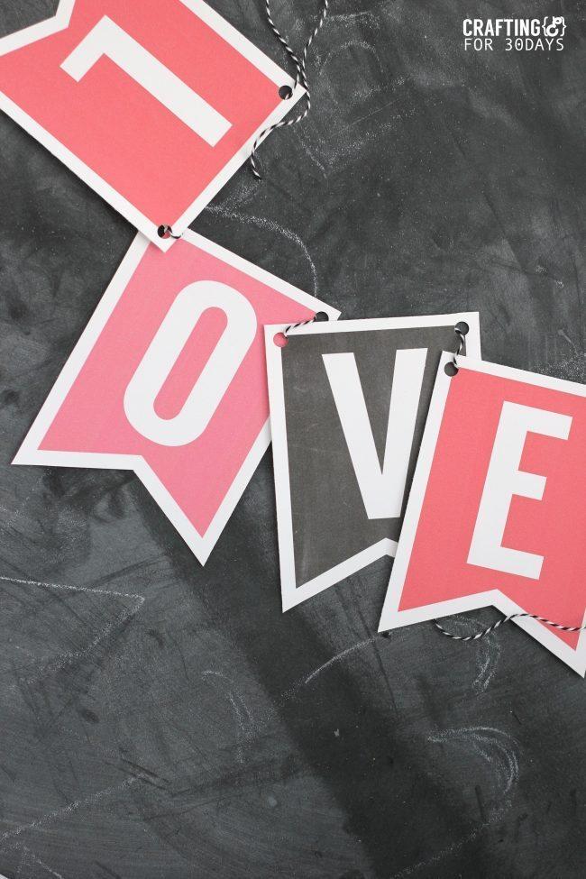 Printable Valentine's Day Banner from Crafting E for thirtyhandmadedays.com