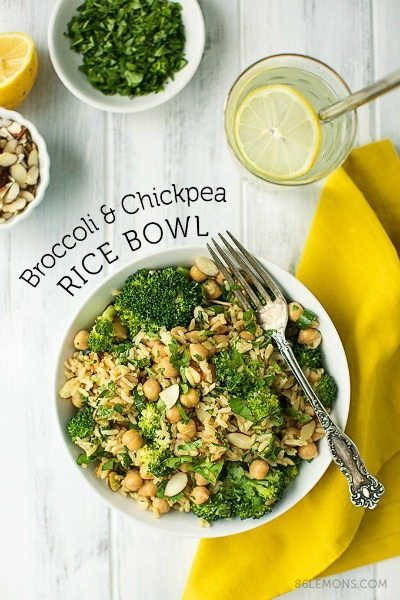 Broccoli & Chickpea Rice Bowl from 86 Lemons / round up on ThirtyHandmadeDays.com