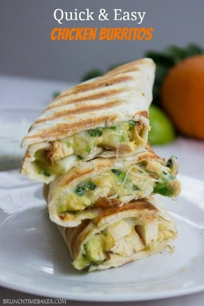 Quick-and-Easy-Chicken-Burritos-with-Sour-cream-Cilantro-Sauce from Gimme Delicious / round up on ThirtyHandmadeDays.com