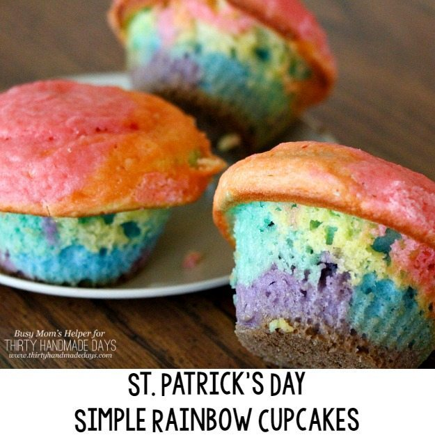 Simple Rainbow Cupcakes / the perfect St. Patrick's Day treat and snack / by BusyMomsHelper.com for ThirtyHandmadeDays.com