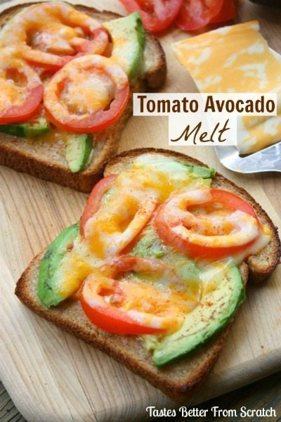 tomato avocado melt from Tastes Better From Scratch /round up on ThirtyHandmadeDays.com