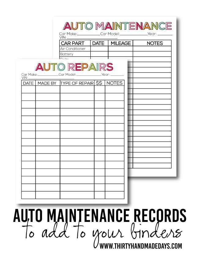 photo about Car Maintenance Schedule Printable referred to as Printable Vehicle Mend - 30 Do-it-yourself Times