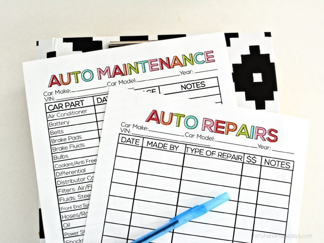 Printable Auto Maintenance Records from www.thirtyhandmadedays.com