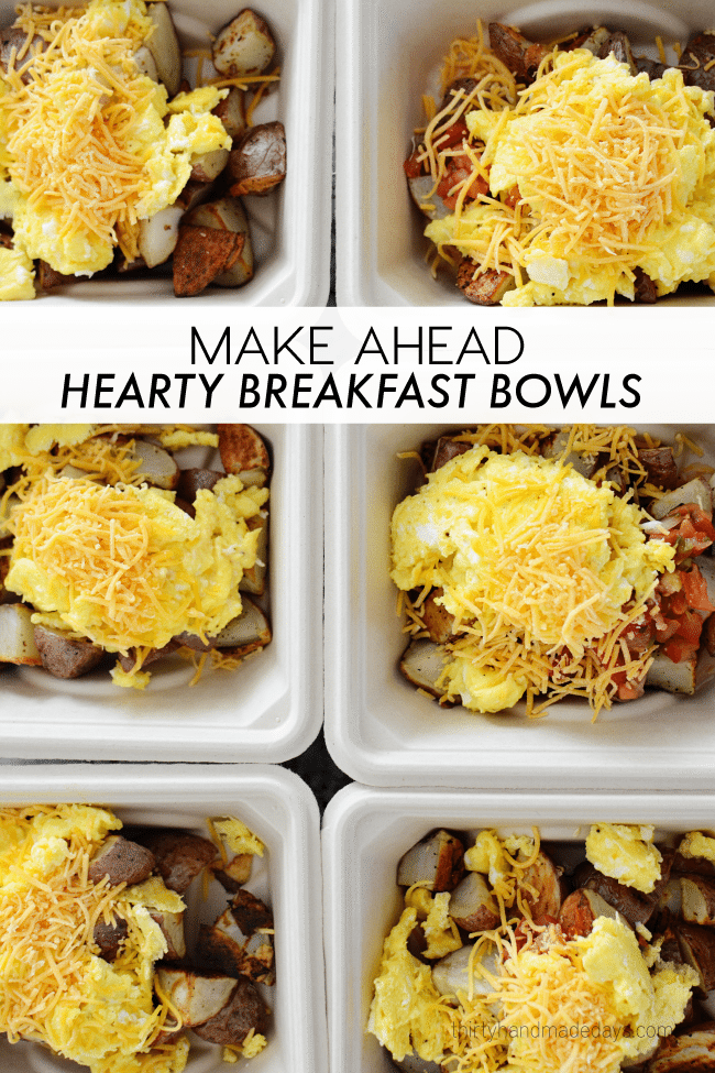 Hearty Make Ahead Breakfast Bowl -make your breakfast ahead. So simple and so great! www.thirtyhandmadedays.com