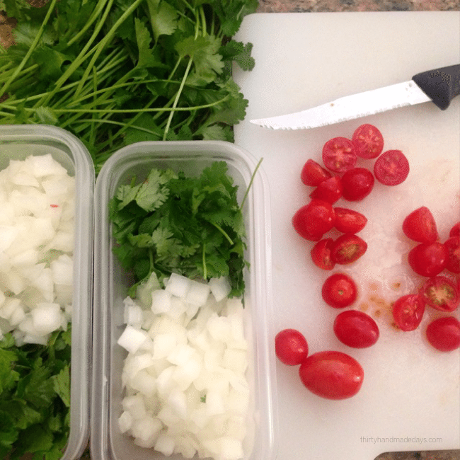 How to organize a dinner co-op - prepping ingredients www.thirtyhandmadedays.com