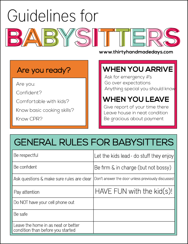 Guidelines for Babysitters- list of things to go over with your kids who are babysitting www.thirtyhandmadedays.com