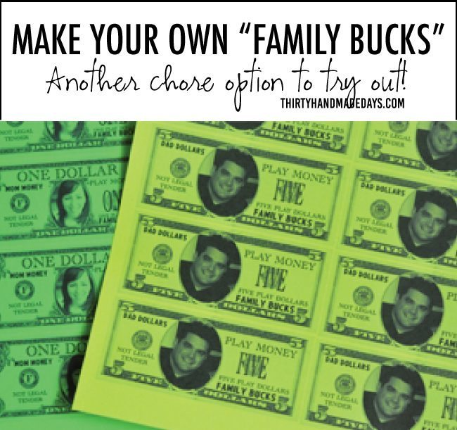 Make your own family bucks - a chore option to try out from www.thirtyhandmadedays.com