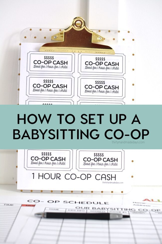 How to set up a babysitting co-op with free printables from www.thirtyhandmadedays.com