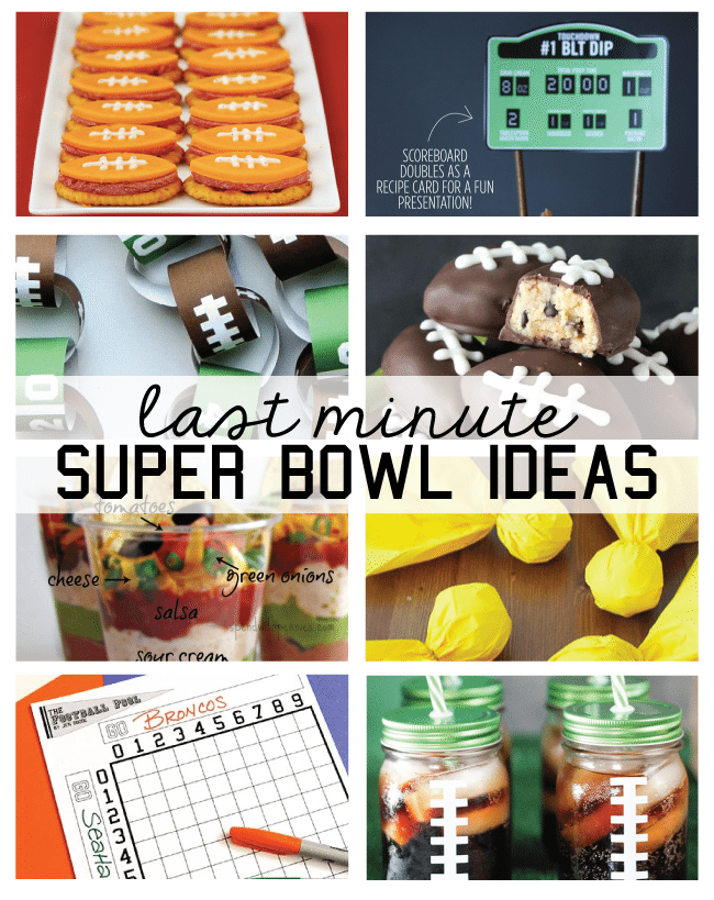Last Minute SuperBowl Ideas - snacks, decor and printables