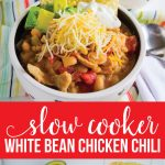 Slow Cooker White Bean Chicken Chili Recipe - a healthy recipe that your whole family will love. Shown with all of the toppings from www.thirtyhandmadedays.com