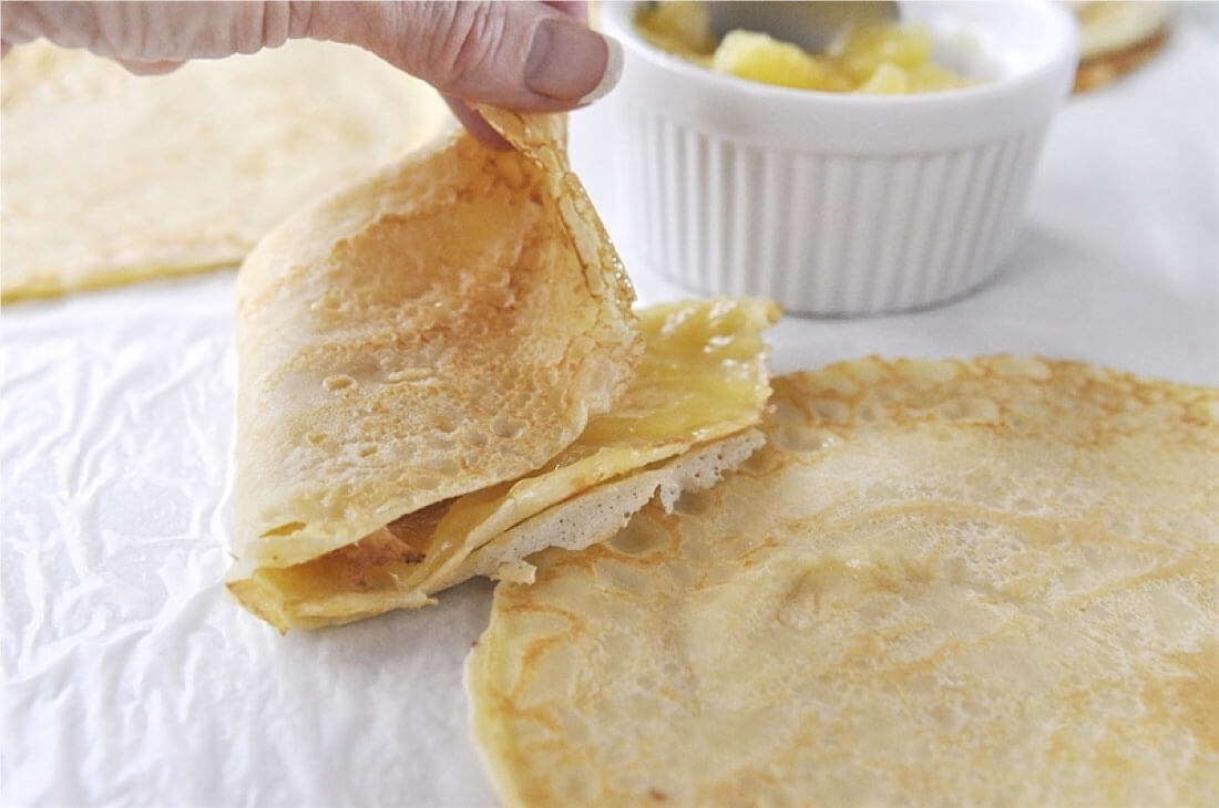 Swedish Pancakes - a cross between crepes and pancakes, this pancake recipe is one you'll go back to again and again. Putting the swedish pancakes together, folding.