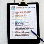 How to clean bathroom with printable to teach kids