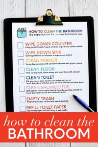 How to clean bathroom printables