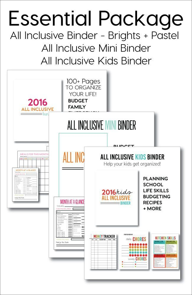 Want to get organized in a major way? Get the essentials package with different sizes of binders and includes a kids binder too!