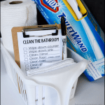 Spring cleaning: How to clean the bathroom with printable checklist from thirtyhandmadedays.com