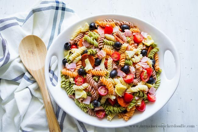 Amazing Artichoke Pasta Salad from My Name is Snickerdoodle via www.thirtyhandmadedays.com. Perfect for summer!