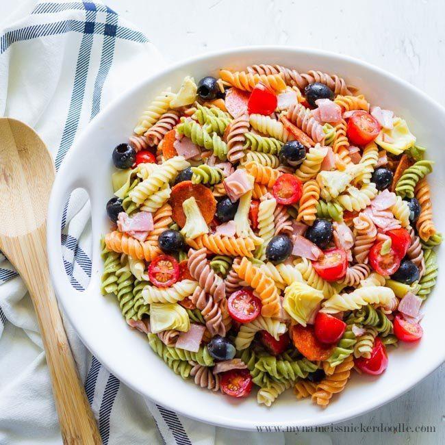 Amazing Artichoke Pasta Salad from My Name is Snickerdoodle via thirtyhandmadedays.com