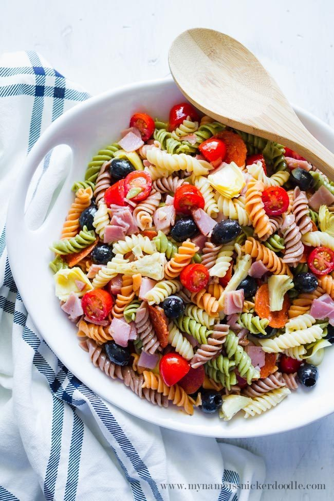 Amazing Artichoke Pasta Salad from My Name is Snickerdoodle via www.thirtyhandmadedays.com