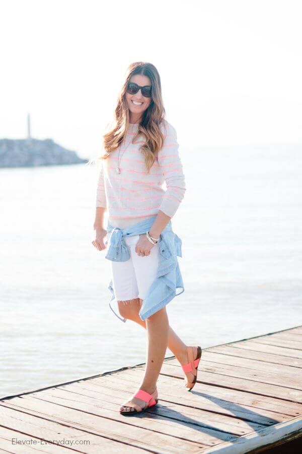 Summer Outfits - white bermuda shorts and neon